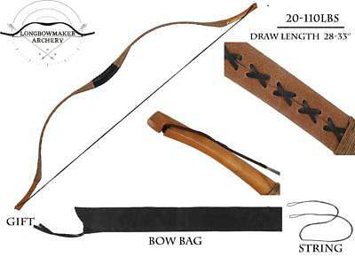 Horsebow Archery Traditional hunting Longbow Pigskin Recurve +String+Bowbag