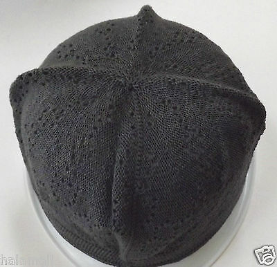 Kufi Hat Mens Koofi Topi Embroidery Skull Cap - Dark Grey color -one size