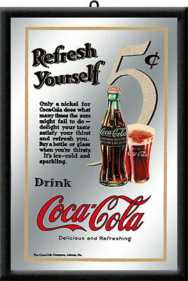 Framed Bar Mirror COCA COLA 5c Traditional Vintage image 20x30cm Licensed Prod