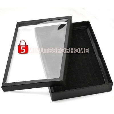 Fashion 100 Slots Ring Black Jewelry Display Show Case Velvet Tray Box Case