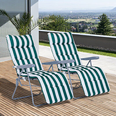 2PC Foldable Sun Lounger Reclining Chairs Garden Relaxer Recliner With Cushion