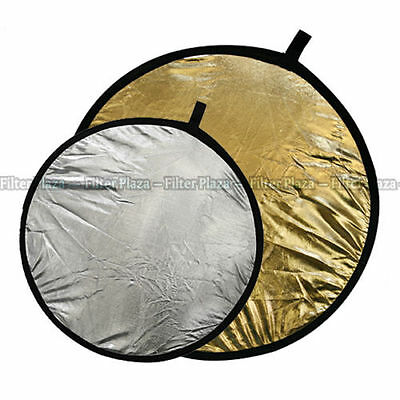 """110cm 43"""" 2 in 1 Light Multi Collapsible Photo Reflector Board Disc Silver Gold"""