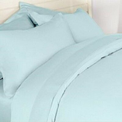 EXTRA DEEP 26'' FITTED VALANCE SHEET Aqua Blue King Bed Size Percale 200 Thread