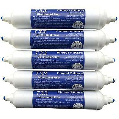 5 x In Line Fridge Water Filters Compatible with Samsung, Daewoo, LG etc