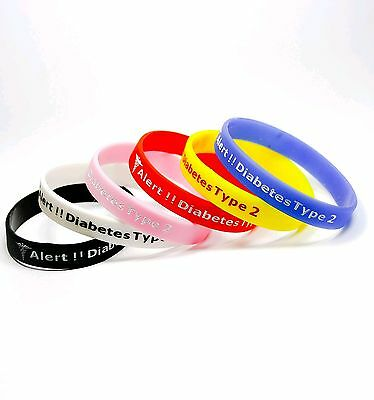 Type 2 diabetes medical alert silicone wrist band bracelet uk seller