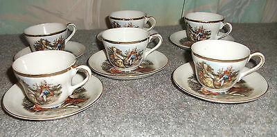 Set of 6  SGK Occupied Japan Victorian Demi Tasse Cups with Saucers