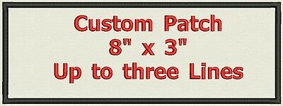 """Name tag, Custom Embroidered Ribbon, Biker Patch Rectangle  8"""" x 3"""""""