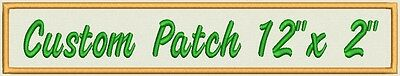 """Custom Embroidered Ribbon, Name Tag, Biker Patch, badge rectangle  12"""" x 2"""""""