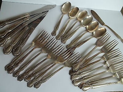 26 pc ROGERS&BRO silverplate flatware,SHEFFIELD REPRODUCTION tray,INTERNATIONAL