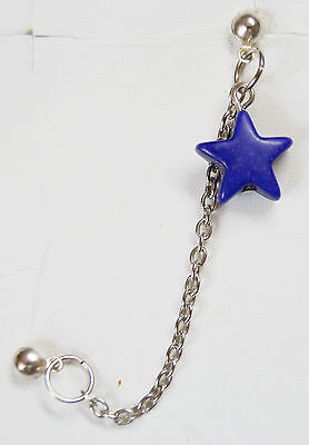 NICE! PURPLE STAR TURQUOISE SILVER TONE EARRING DOUBLE STUD CHAIN -FOR MEN/WOMEN