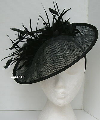 Black Hat Sinamay Feathers Fascinator Wedding Ascot Race Hen Party Ladies Day