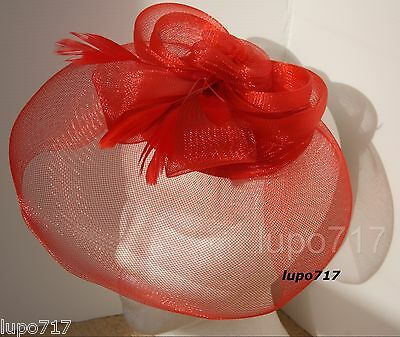 Red Hat Netting Feathers Fascinator Wedding Ascot Racing Hen Party Ladies Day