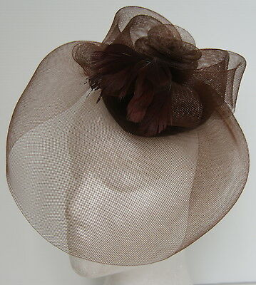 Brown Hat Netting Fascinator Wedding Ascot Racing Hen Party Ladies Day