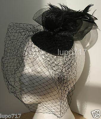 Black Hat Netting Ostrich Feathers Fascinator Wedding Ascot Racing Hen Party New