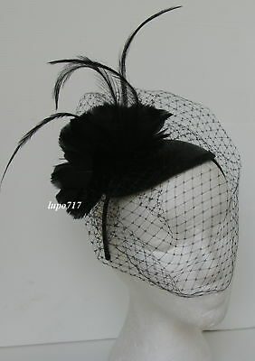 Black Hat Netting Feathers Sinamay Fascinator Wedding Ascot Race Hen Lady Party