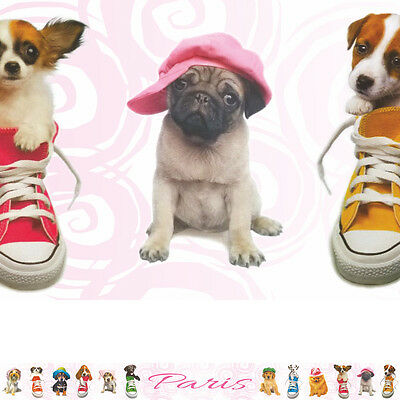 TRENDY PUPS PERSONALISED dog puppy bedroom wallpaper WALL BORDER STRIPS