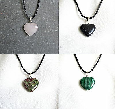 Small HEART Shaped Stone Pendant With Twisted Cord Necklace - Choice of Stones