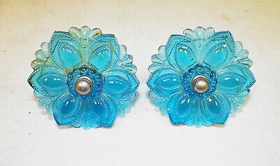 Vintage Victorian Pair (2) Of Glass Curtain Tie Backs Blue 3 1/4""
