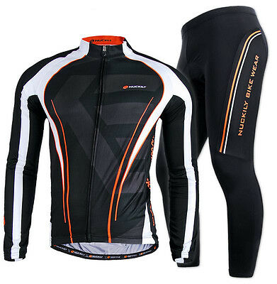 Men Bike Riding Long Sleeve Outfits Cycling Jersey Pants Kits Shirt Tights Sets