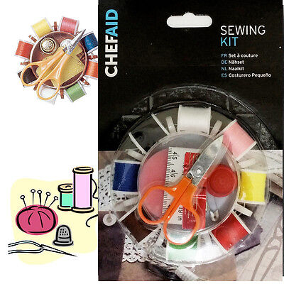 8 Travel Sewing Kit Set Reel Thread Thimble Scissor Safety Pin Tape Craft Button