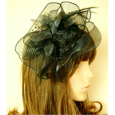 Black Flowers Ladies Womens Wedding Races Ascot Fascinator Hat Hair Clipper Veil