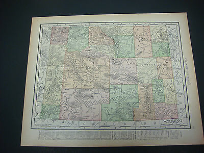 1914 Rand McNally Atlas Map Page Wyoming / Utah Nice Color Suitable To Frame