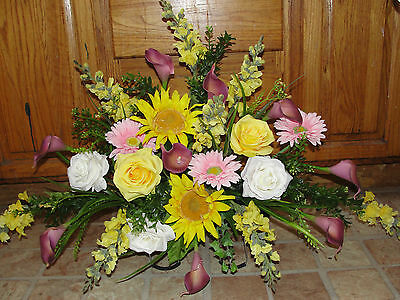 Yellow Snapdragons Eggplant Lily Tombstone Saddle Cemetery Headstone Silk Flower