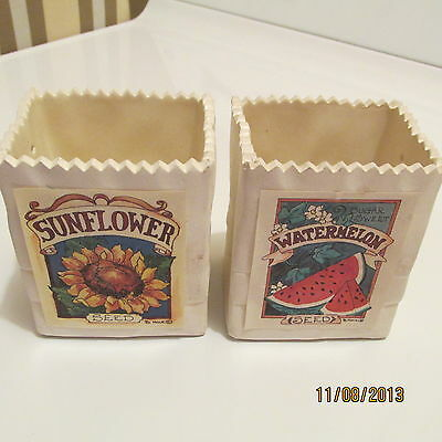 HOME INTERIORS HOMCO WATERMELON/SUNFLOWER SEED PACKETS-GOOD COND