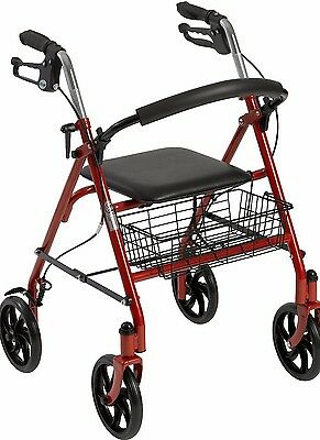"""Drive Medical Folding Walker Rollator  8"""" 4 Wheels With Padded Seat With basket"""