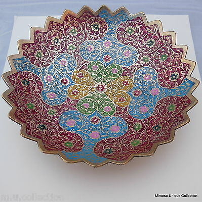 Colorful Vintage Style Brass Bronze Painted Flower Engraved Bowl Home Decoration