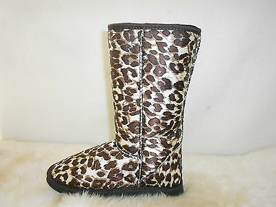 Lady ugg Boots Classic Tall Synthetic Wool Colour Brown Leopard Multi Size