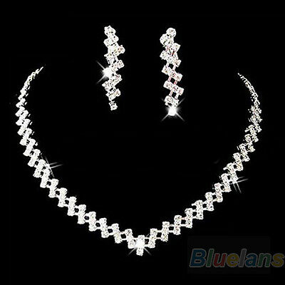 New Prom Wedding Bridal Crystal Rhinestone Necklace Earring Jewelry Set B1BU