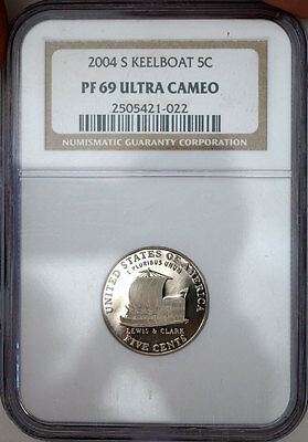 US 2004-S KEELBOAT PROOF NICKEL 5c NGC PF69  ULTRA CAMEO Coin