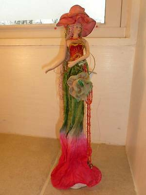 """2005 Popular Creations 13"""" LIly Flower Tassel Porcelain Doll on Stand"""