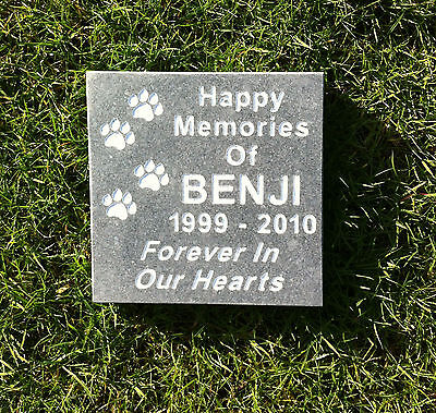 Slate Grey Granite Pet Memorial Stone Plaque Mow Over