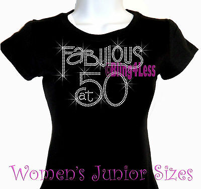 FIFTY FABULOUS Black Top Medium 50th Birthday