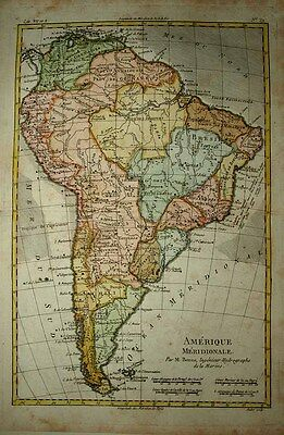 1780 Rigobert Bonne Map SOUTH AMERICA Decorative & Detailed Continental Survey