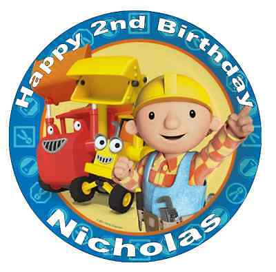 """Bob The Builder Personalised Cake Topper 7.5"""" Edible Wafer Paper Birthday Party"""