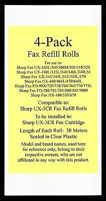 4-pack of UX-3CR Fax Refill Rolls for Sharp UX-300 UX-300M UX-305 UX-310 UX-320