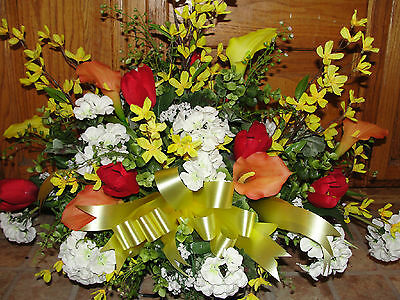 Paris Centerpiece Orange Calla Lily White Geranium Cemetery Headstone Silk Flowe