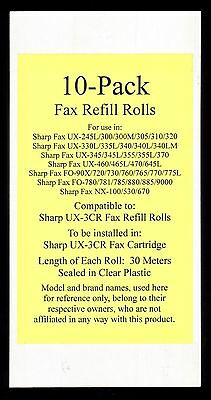 10-pack UX-3CR Fax Refill Rolls for Sharp UX-345 UX-345L UX-355 UX-355L UX-370