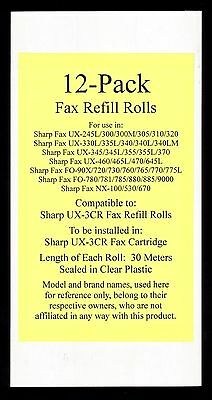 12-pack UX-3CR Fax Refill Rolls for Sharp UX-345 UX-345L UX-355 UX-355L UX-370