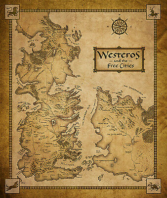 Game Of Thrones Houses Map Westeros And Free Cities 22 inch x 32 inch - Huge