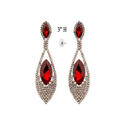 Bridal wedding prom party elegant crystal rhinestone red chandelier bridal wedding red crystal earrings rhinestone teardrop chandelier earrings prom aloadofball Image collections