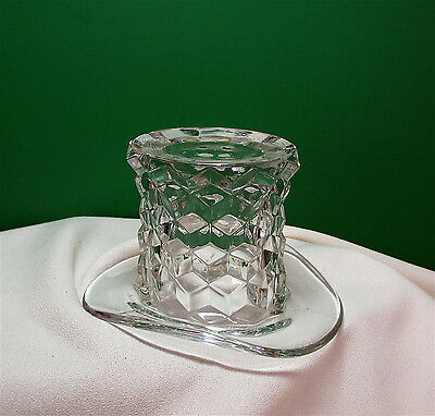 """Fostoria American 3"""" Clear Glass Top Hat Vase Candy Excellent Vintage"""