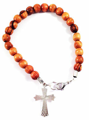 Olive Wood Beads bracelet with Silver Cross pendant from Bethlehem The Holy Land