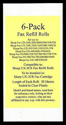 6-pack of UX-3CR Fax Film Refill Rolls for Sharp UX-460 UX-465L UX-470 UX-645L