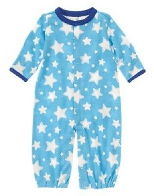 Gymboree BRAND NEW BABY FOOTBALL Blue One Piece Gown Hat Booties 3-6 mth NWT