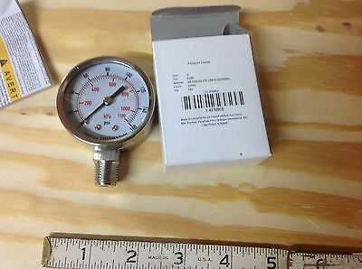 "Grainger Stainless Torch 4FMK8 Compressor, Pressure Gauge 2"" x 160 Psi 1/4"" NPT"