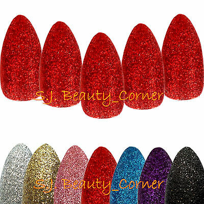 Nails - 20 x Glittered Stiletto Pointed-Full Cover False Nails-Medium Length-New